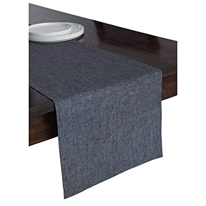 Solino Home 100 Pure Linen Table Runner 14 X 36 Inch Athena Handcrafted From European Flax Natural Fabric Runner Charcoal Grey