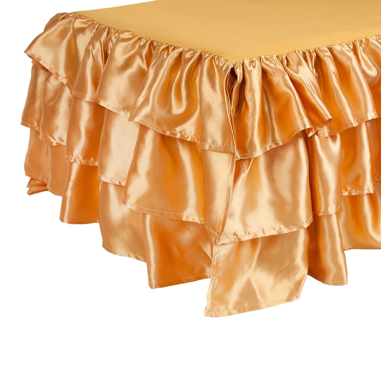 Tadpoles Ruffled Satin Crib Skirt, White Sleeping Partners BDRBSN009
