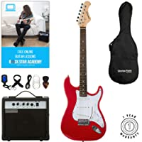 Stretton Payne ST Electric Guitar with practice amplifier, padded bag, strap, lead, plectrum, tuner, spare strings. Guitar in Red