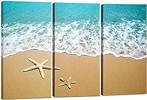 Canvas Wall Art Decor - 12x24 3 Piece Set (Total 24x36 inch) - Sandy Beach & Sea - Decorative & Modern Multi Panel Split Canvas Prints for Dining & Living Room, Kitchen, Bathroom, Bedroom & Office