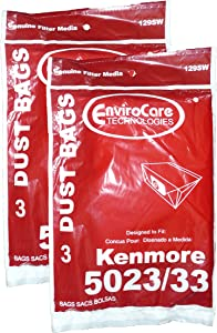6 Kenmore Sears Allergy Vacuum Bag, Canister Vacuum Cleaners, 5023-5033 Bag Changed to Kenmore Type E for Manufacture Model # 609196, 116.25950