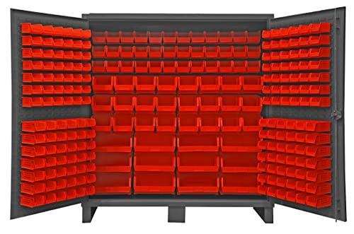 Durham HDC72-240-1795 Lockable Cabinet with 240 Red Hook-On Bins, 72 Wide, 12 Gauge