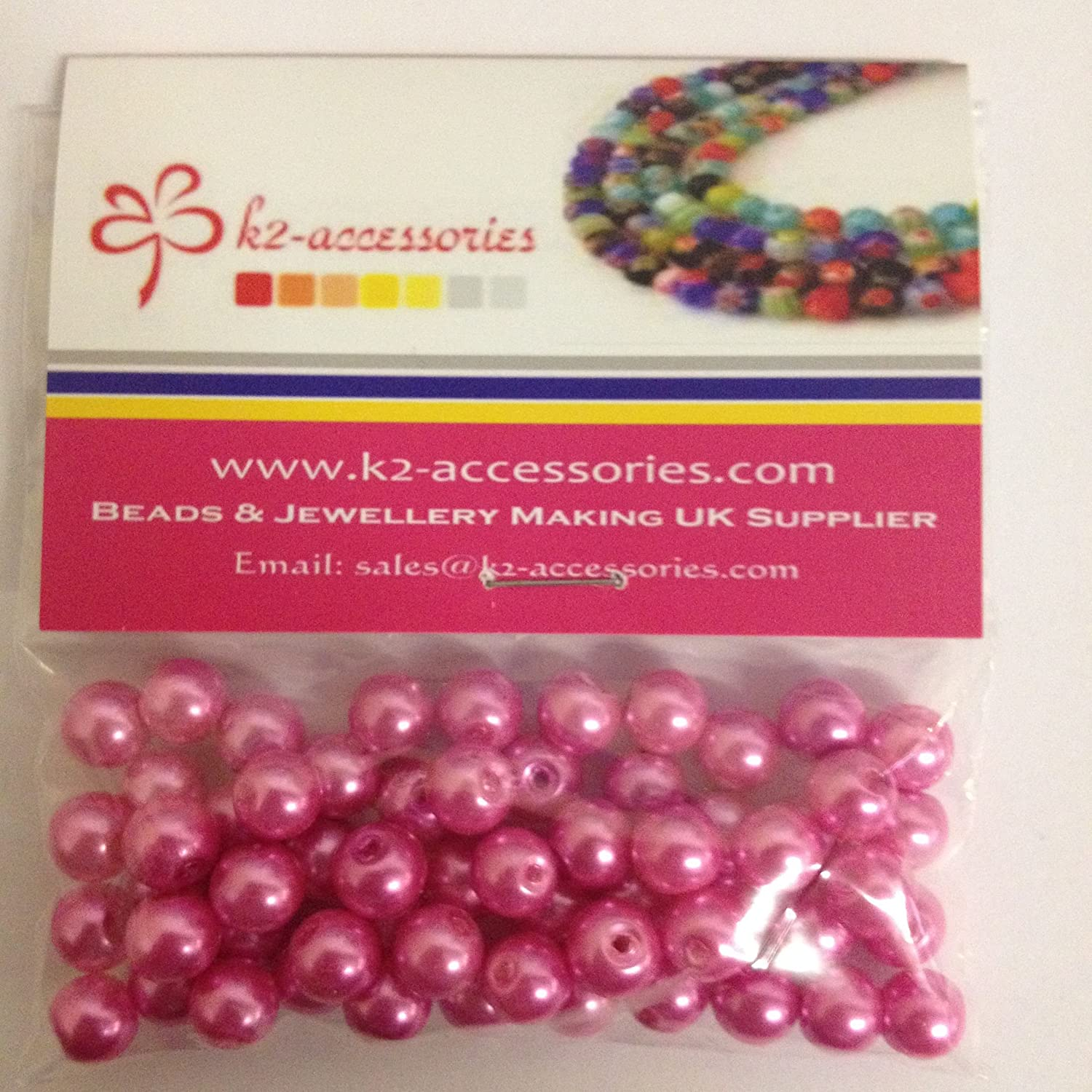 100 pieces 8mm Glass Pearl Beads - Fuchsia Pink - A1020 k2-accessories