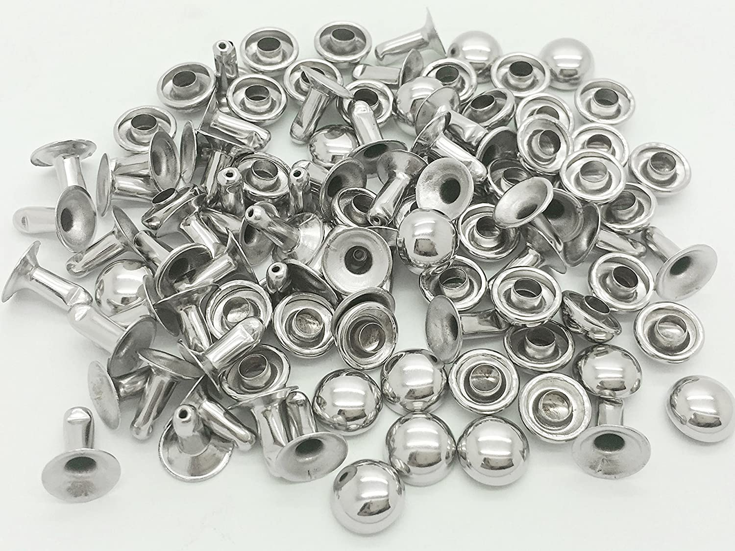 5 Packs Of Single Cap Rivets 10mm x 100 Silver Colour With Tool
