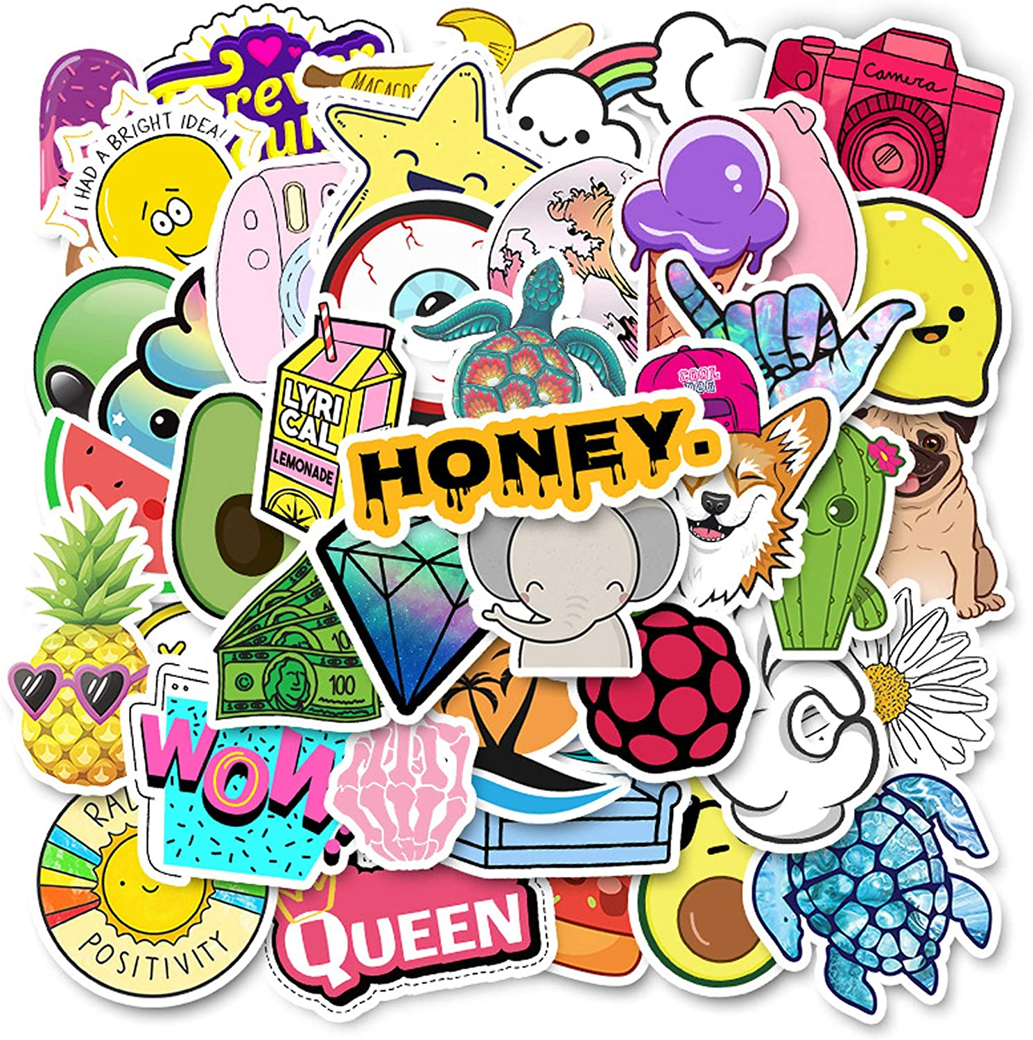 ONDY Stickers for Water Bottles 50 Pcs,Aesthetic Trendy Stickers Cute Vsco Stickers for Teens,Perfect Graffiti Stickers for Waterbottle,Laptop,Phone,Travel