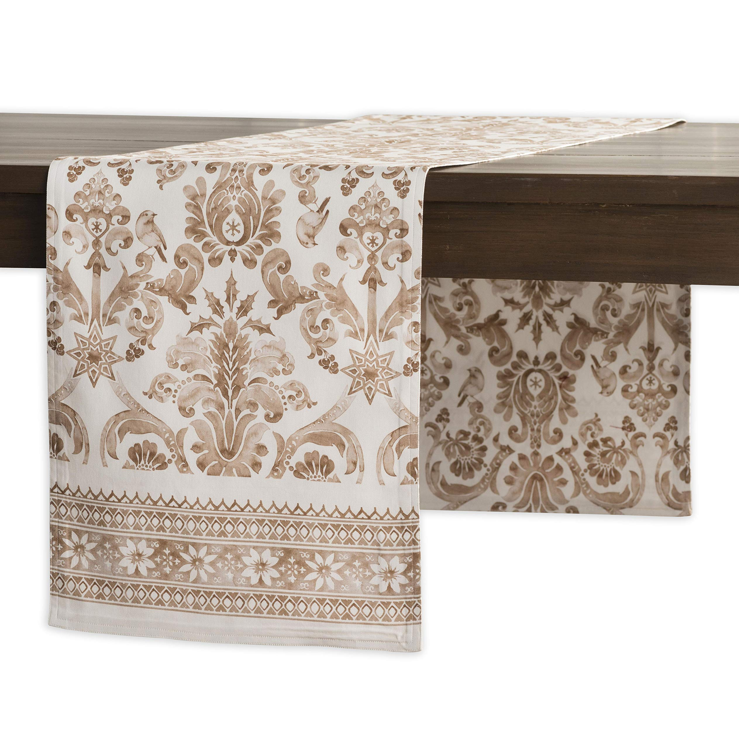 """Maison d' Hermine Allure 100% Cotton Table Runner 14.5 Inch by 108 Inch. - Designed in Europe. CHRISTMAS CLEARANCE SALE - SPECIAL DISCOUNT PRICE. Our collections are featured in Elle Decor and House Beautiful for """"Best Thanksgiving Tablecloth"""". 100% Cotton and Machine washable. Package Includes : 1 Table Runner - table-runners, kitchen-dining-room-table-linens, kitchen-dining-room - 917EZ3Ff71L -"""