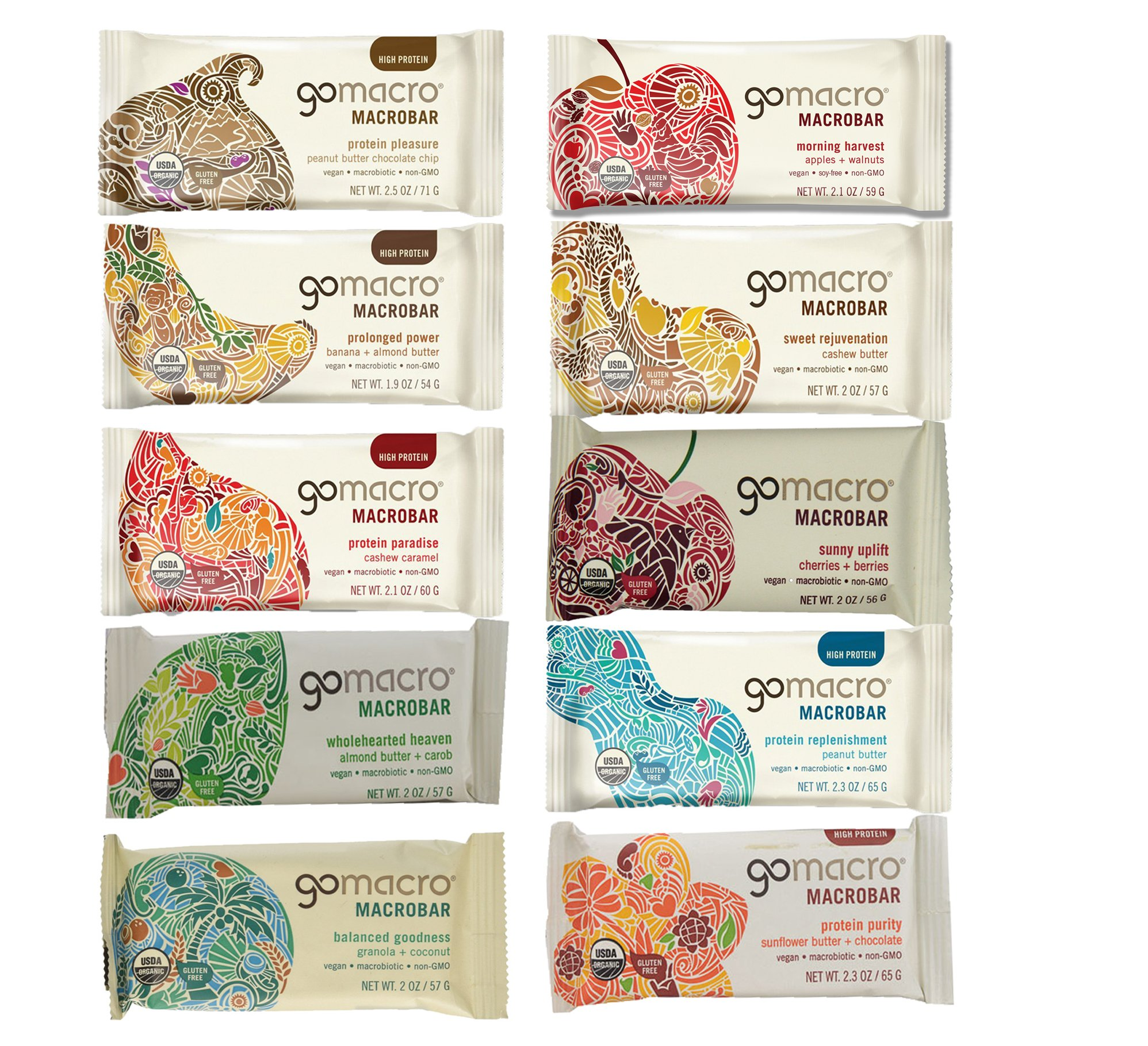 GoMacro Bars / Go Macro Organic Nutrition Meal Bars Variety, 1.9 oz- 2.5 oz (Pack of 20 / 2 Each of 10 Flavors ) with Snack Castle 9'' x 8'' Reusable Snack Pouch with Locking Knob Bundle by GoMacro (Image #2)