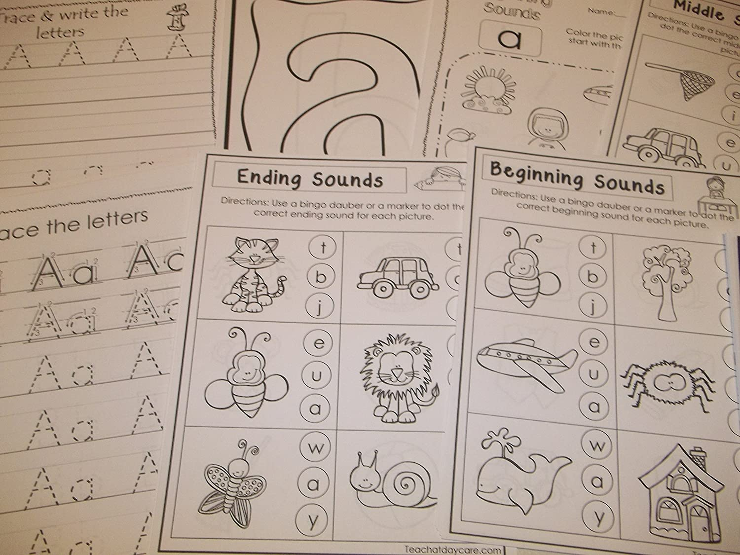 290 Bulk Printed Preschool and Kindergarten Alphabet Worksheets.