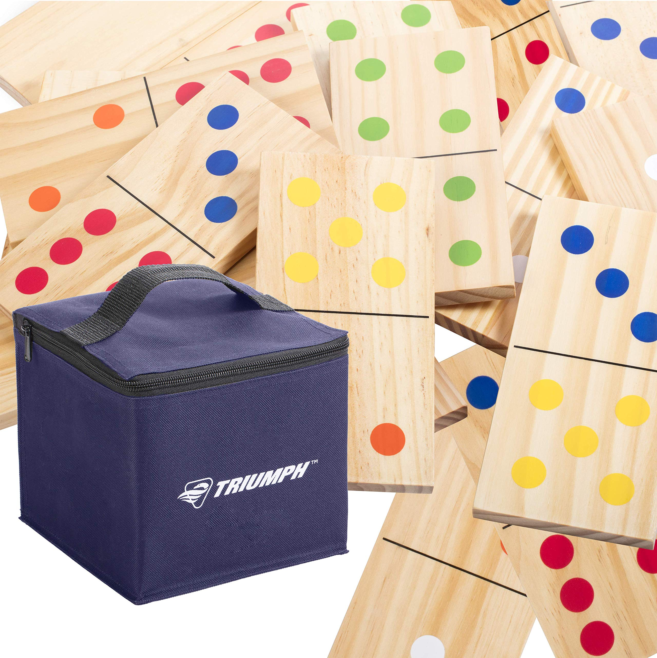 Triumph 28-Piece Wood Lawn Outdoor Large-Format Domino Set Includes Storage Carry Bag by Triumph Sports