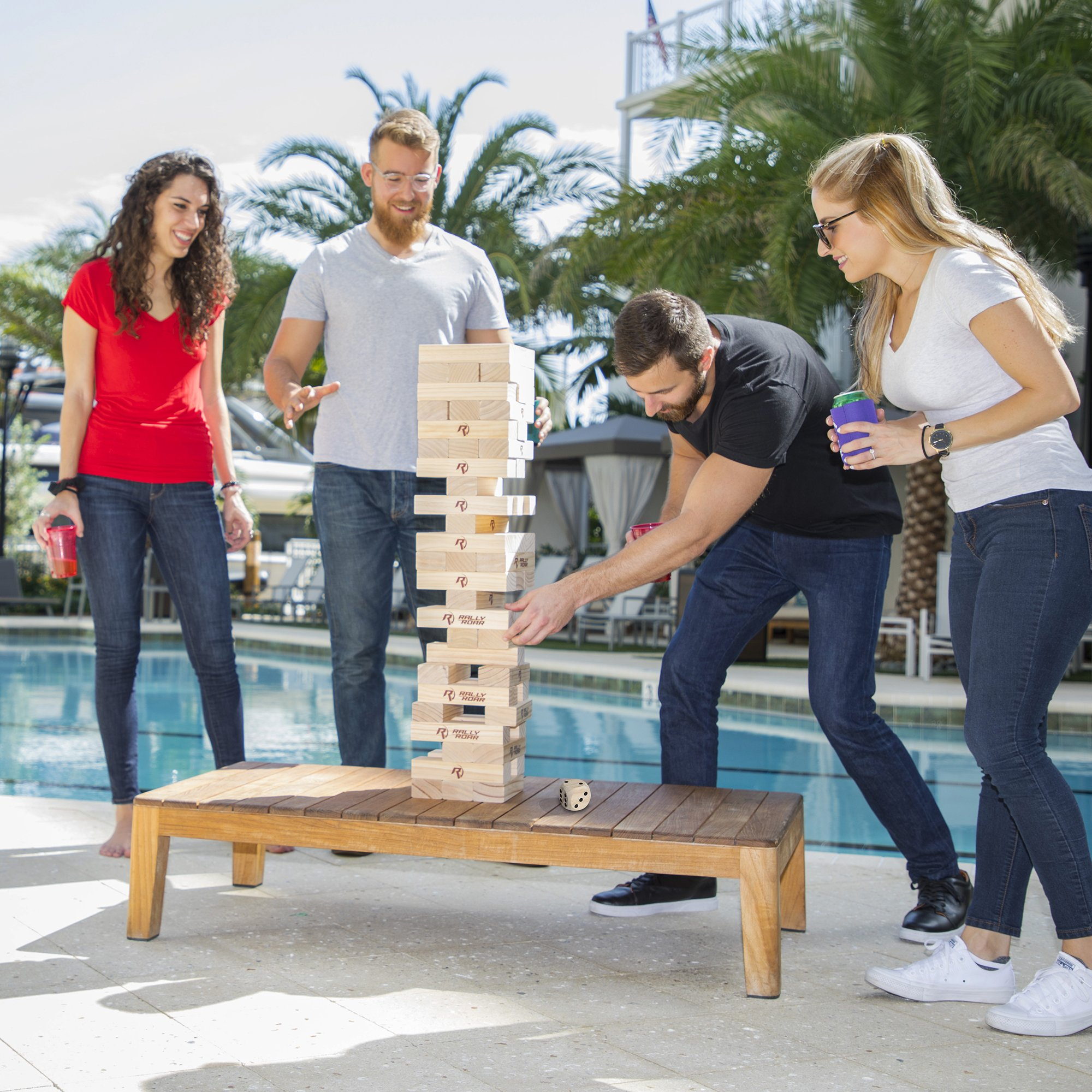 Rally and Roar Toppling Tower Giant Tumbling Timbers Game 2.5 feet Tall (Build to Over 5 feet)– Classic Wood Version - for Adults, Kids, Family – Stacking Blocks Set w/Canvas Bag by Rally and Roar (Image #5)