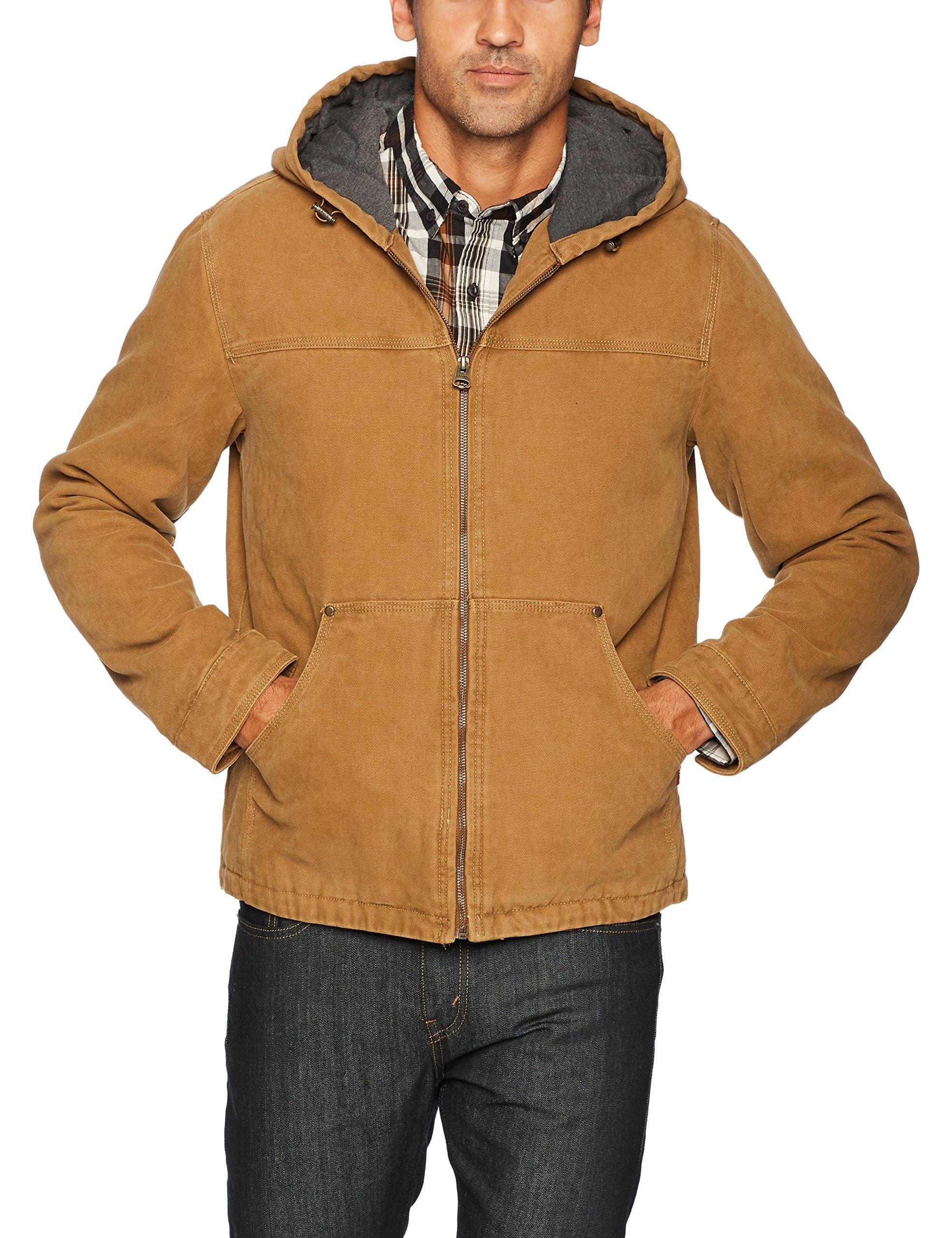 Levi's Men's Cotton Canvas Fleece Lined Hoody Jacket, Workers Brown, XX-Large