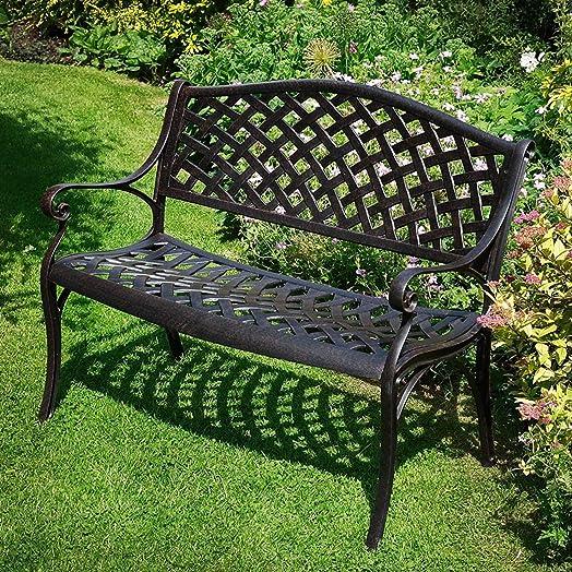 Lazy Susan Furniture Jasmine Metal Garden Bench Antique Bronze