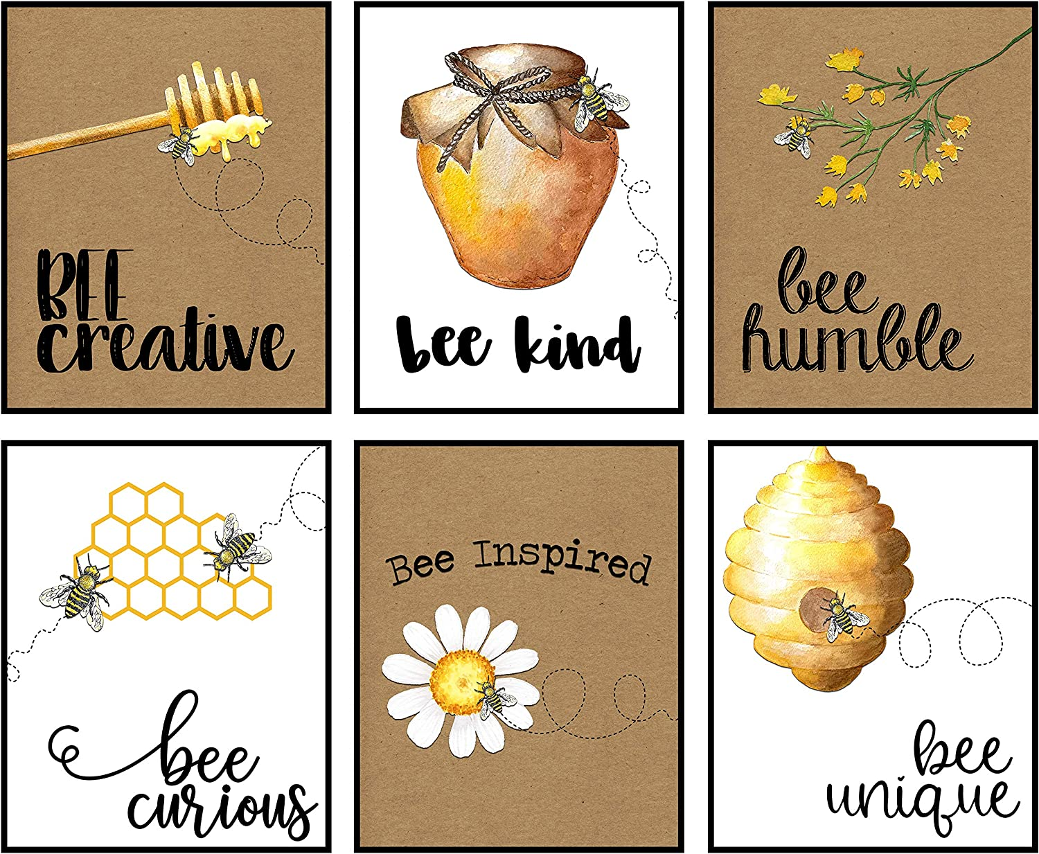 Silly Goose Gifts Home is Where Your Honey is - Art Print Watercolor Design Wall Room Home Bathroom Decor Set - Bee A Nice Human (Bee Kind)