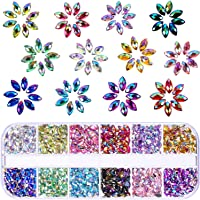 TecUnite 1200 Pieces 12 Colors Shiny Nail Art Rhinestones Flat Back Nail Gems Decorations Supplies with Box (Horse Eye…