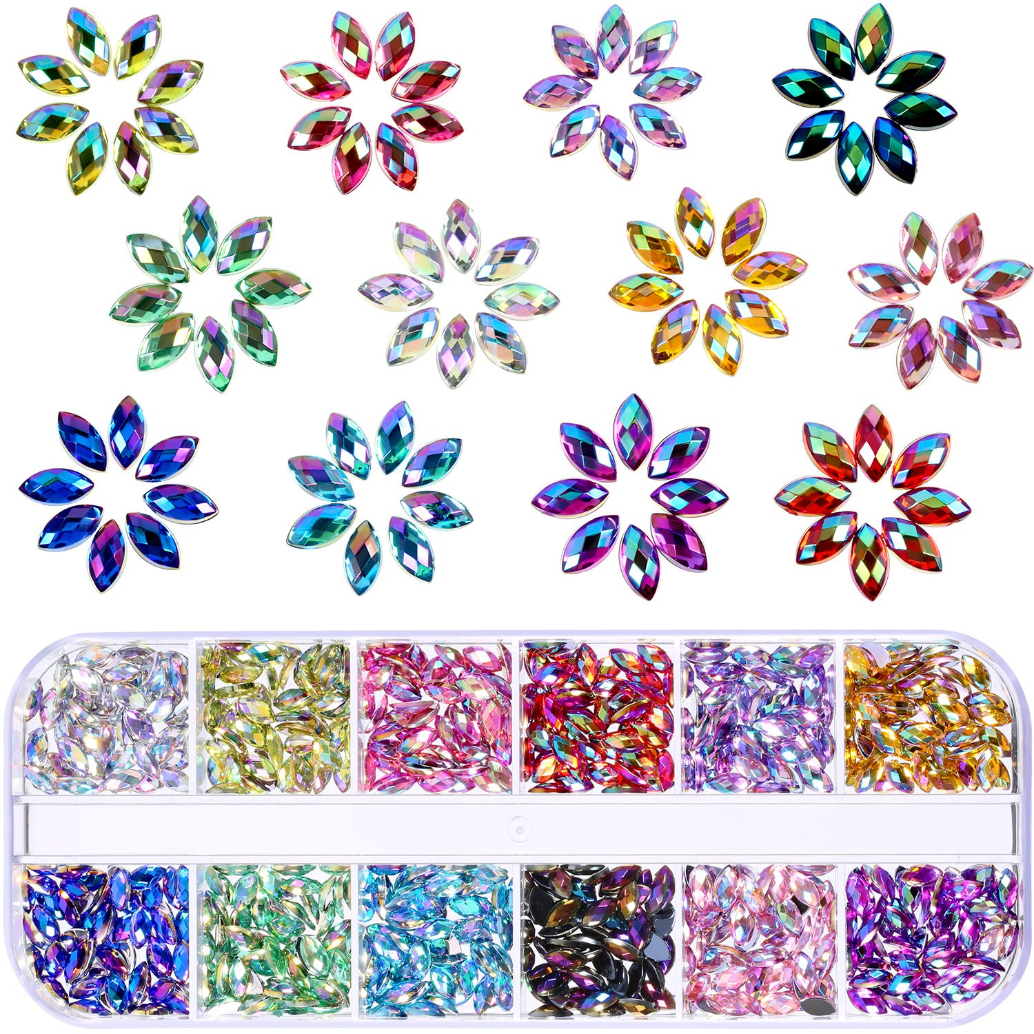 1200 Pieces 12 Colors Shiny Nail Art Rhinestones Horse Eye Rhinestones Flat Back Nail Gems Decorations Supplies with Box TecUnite