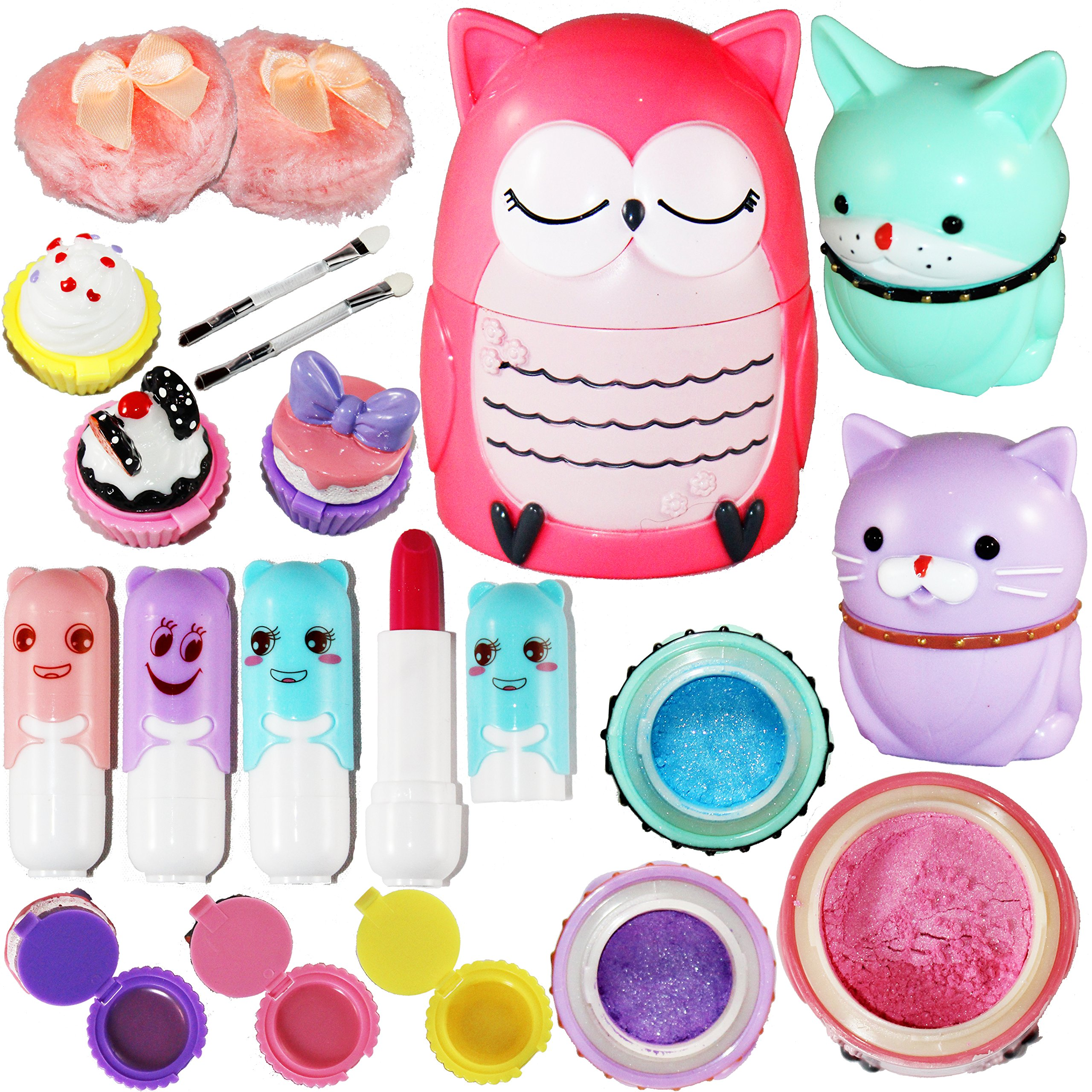 Joyin Toy All-in-one Girls Makeup Kit Including 4 Lip Balms, 3 Lip Gloss, 2 Shimmer Powders/Eyeshadow, and 1 Large Blush.