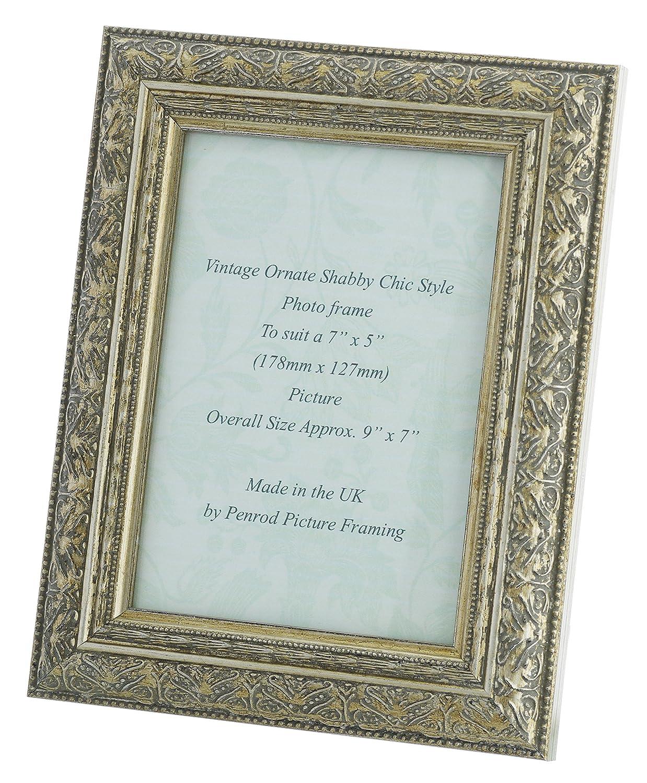 Amazon.de: Shabby Chic verzierter Silber Antik Vintage Bilderrahmen ...