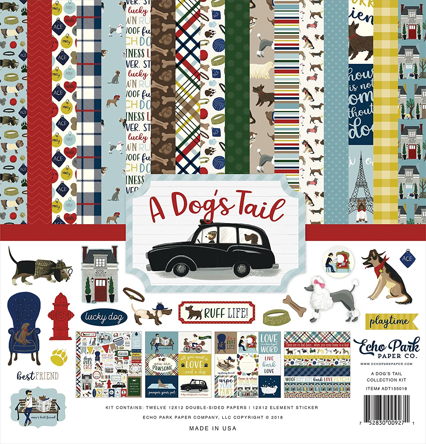 Echo Park Paper Company ADT155016 A Dog's Tail Collection, Yellow, red, Navy, Sky Blue, Brown, Green,