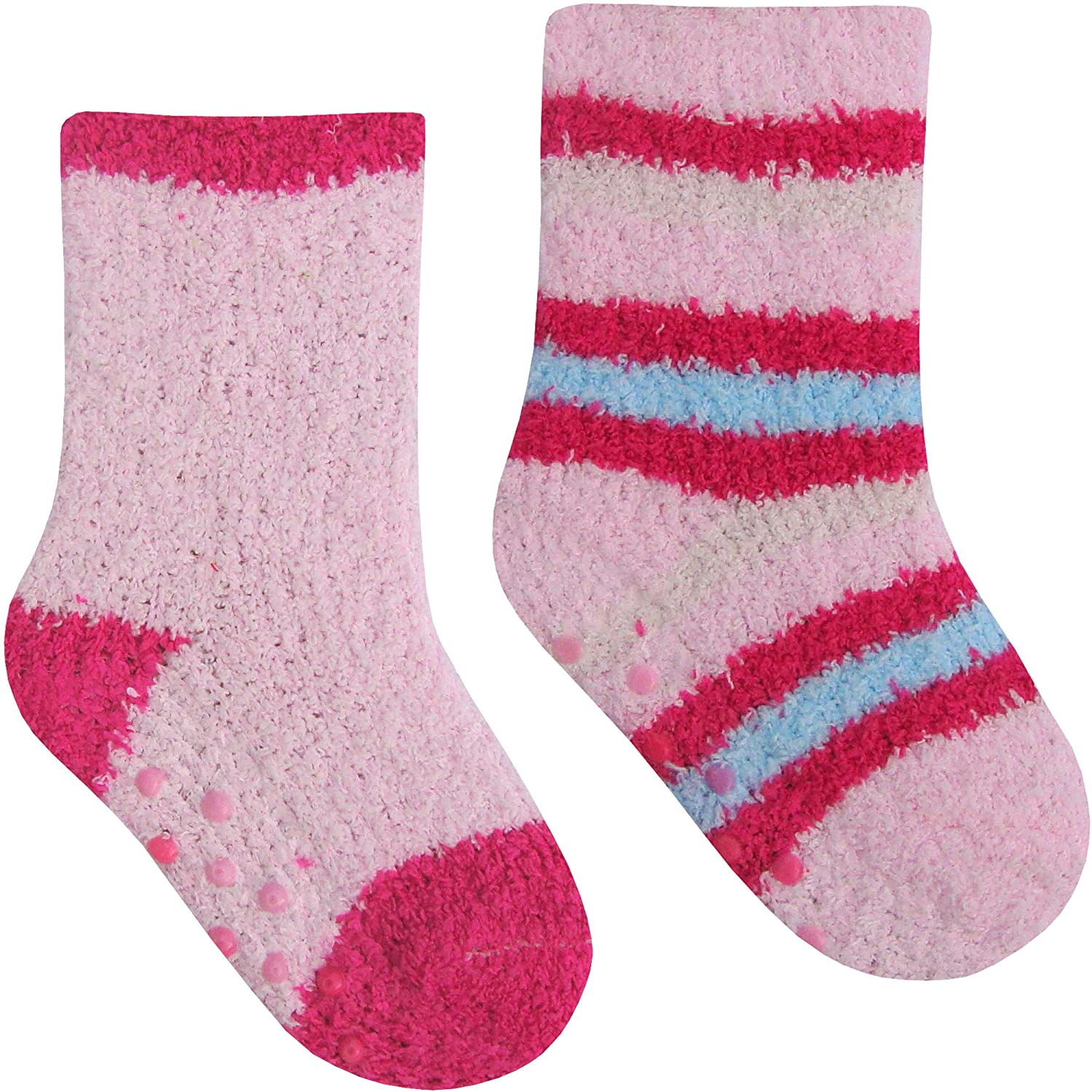 Baby Girls Super Soft & Fluffy Cosy Gripper Socks 2 Pair Pack