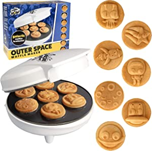 Outer Space Waffle Maker - Make 7 Galactic Waffles or Pancakes in Minutes with Electric Non Stick Waffler Iron - Fun Science Gift Featuring a Planet, Astronaut, Moon, Star & More