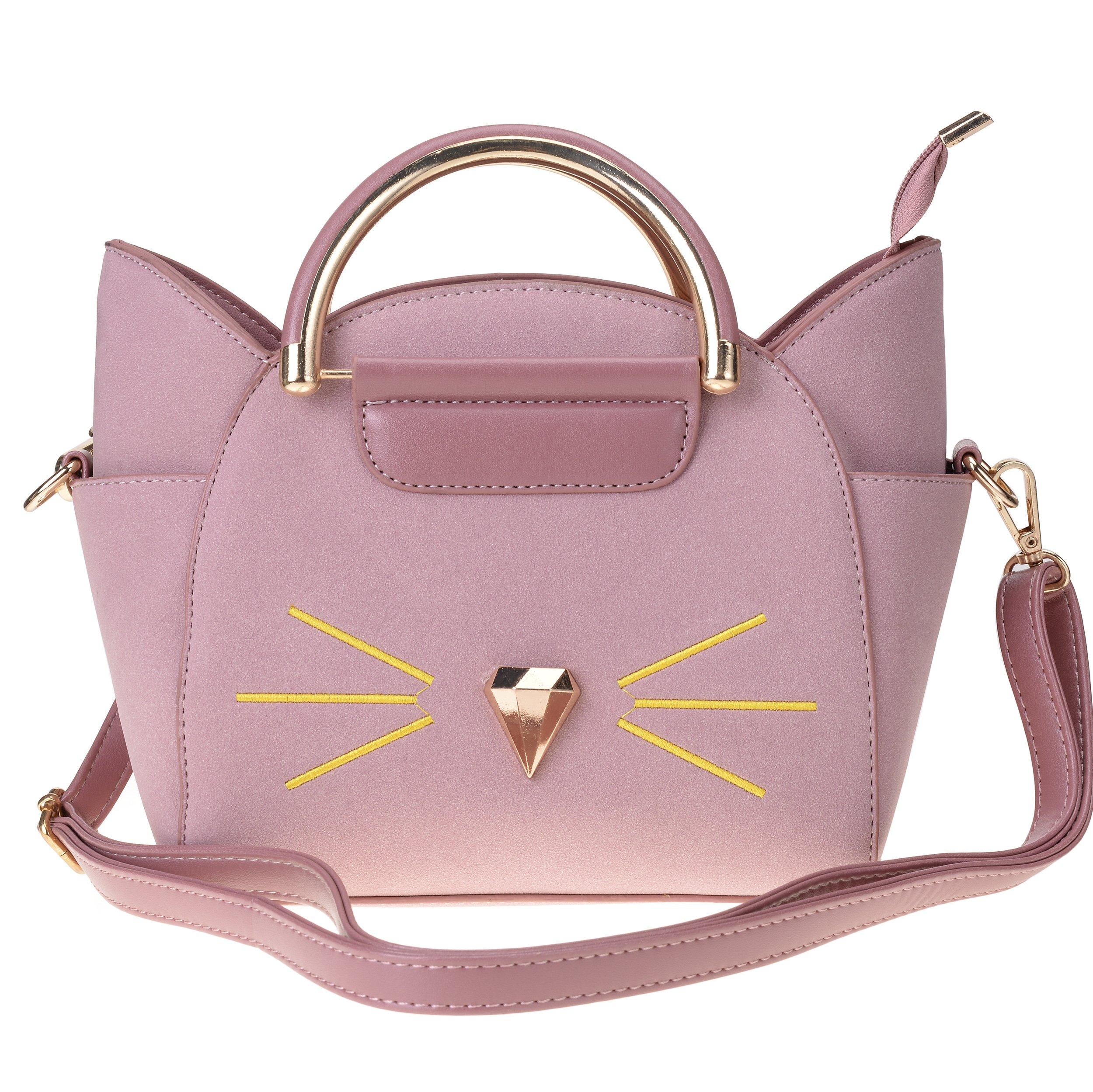 QZUnique Women's Summer Fashion Top Handle Cute Cat Cross Body Shoulder Bag Pink