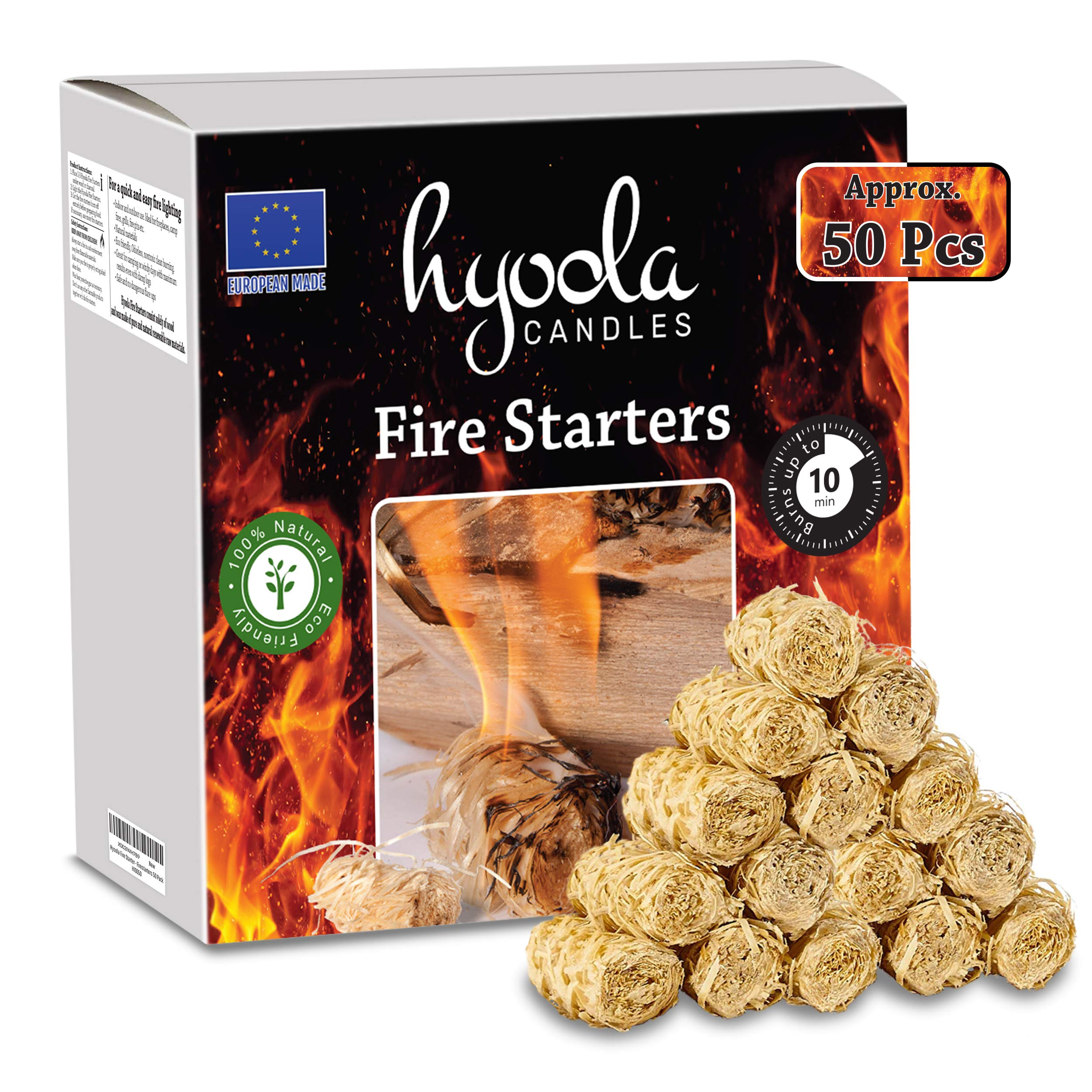 Hyoola Firestarters - 100% Natural Fire Starters - Easy to Use for BBQ & Grill, Campfire, Charcoal, Fire Pit. Waterproof for Indoor/Outdoor Use - No Flare Ups - 10 Minute Burn - 50 Firelighters