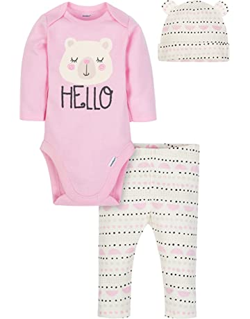 798eeae15f8a Gerber Baby Girls' 3-Piece Bodysuit, Pant and Cap Set