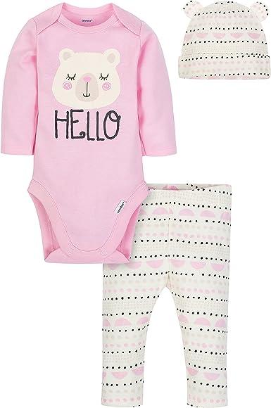 Gerber Baby Girls 3-Piece Bodysuit Pant and Cap Set