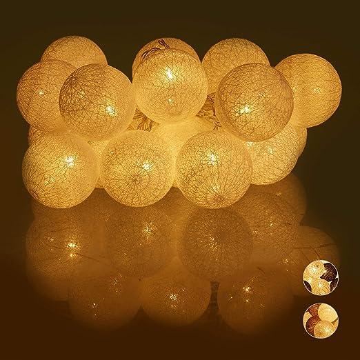 Relaxdays Guirnalda Luces con 20 Bolas LED a Pilas, Algodón ...