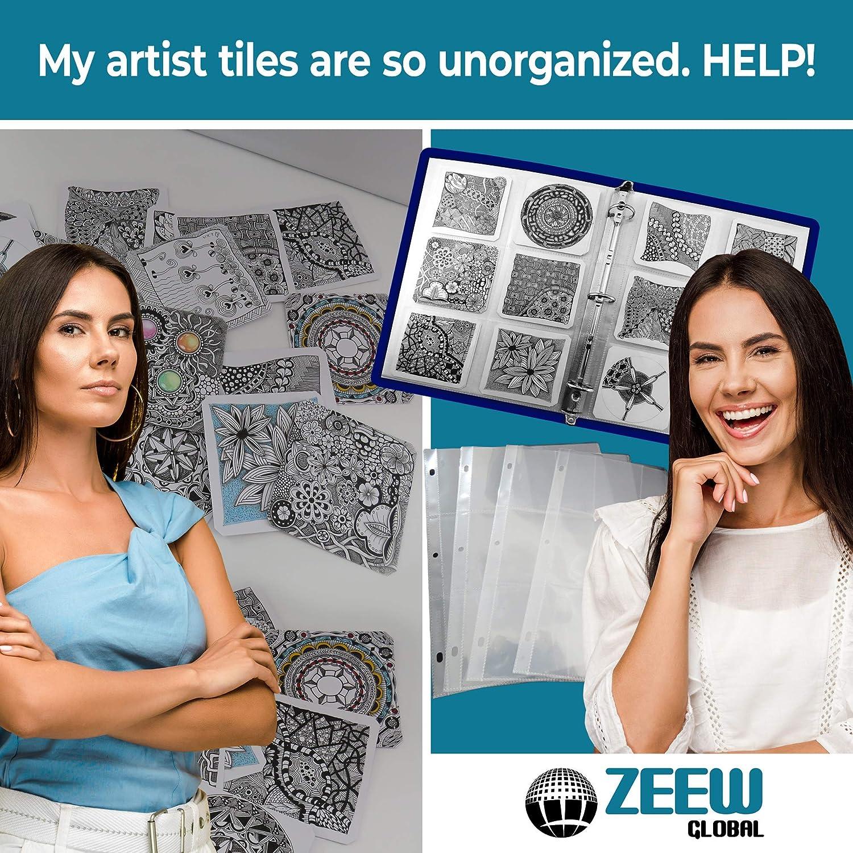 3.5x3.5 6 Pocket Top Loading 20 Pack Zentangle Tile Storage Pages for 3-Ring Binder//Archival Pockets//Zentangle Holder//Artist Tiles Protection