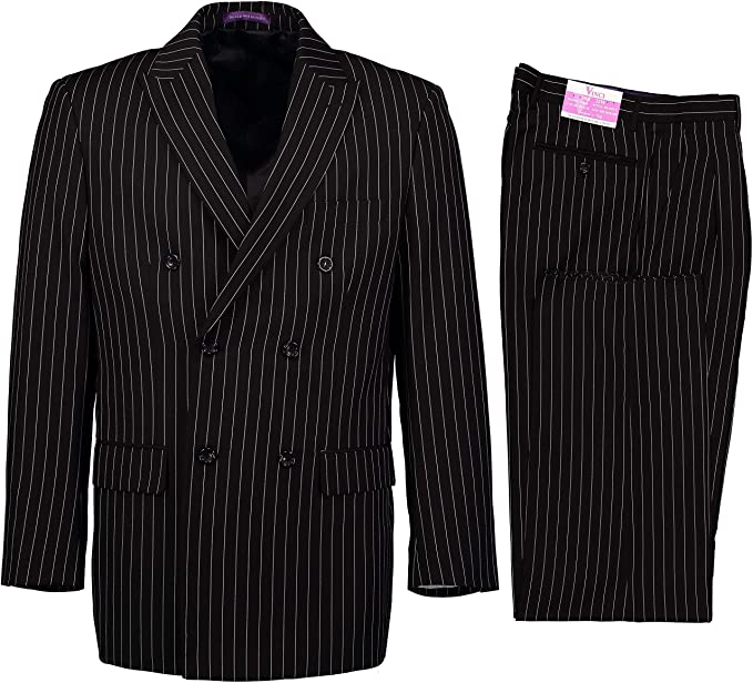 1940s Mens Suits | Gangster, Mobster, Zoot Suits VINCI Mens Gangster Pinstriped Double Breasted 6 Button Classic Fit Suit New $109.00 AT vintagedancer.com