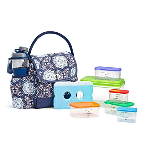 91536a1d4f26 Fit & Fresh Elko Lunch Bag Kit with MyPlate Container Set and Water Bottle,  Blue Blossom Medallion