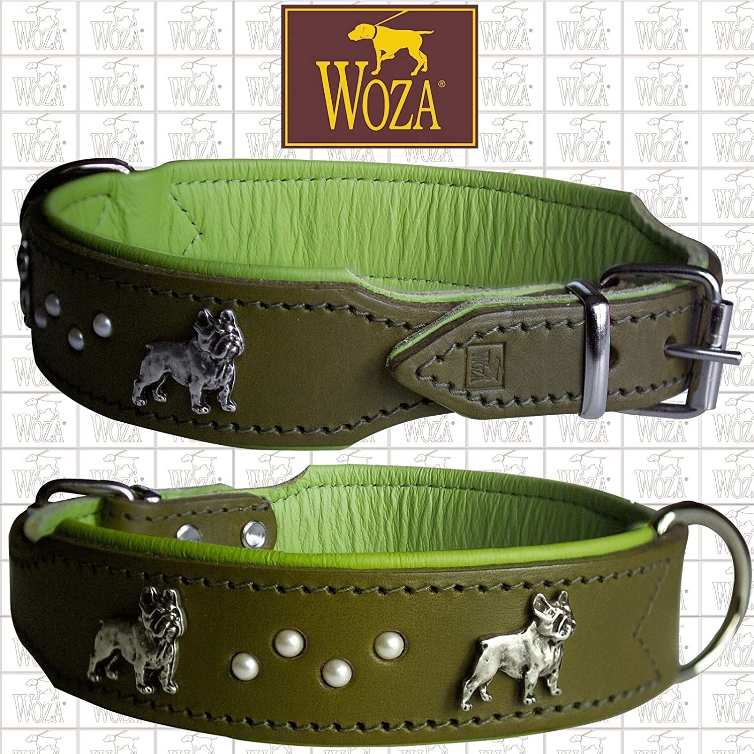 French Bull Dog Dog Collar Pearls 3.3 52 cm Woza Full-Grain Leather Nappa Cowhide Leather Collar