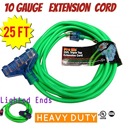 10 Gauge Triple Tap Extension Cord With Lighted Ends Century Contractor Grade 100 10 Gauge Power Extension Cord 10 3 Plug Heavy Duty Indoor Outdoor Triple