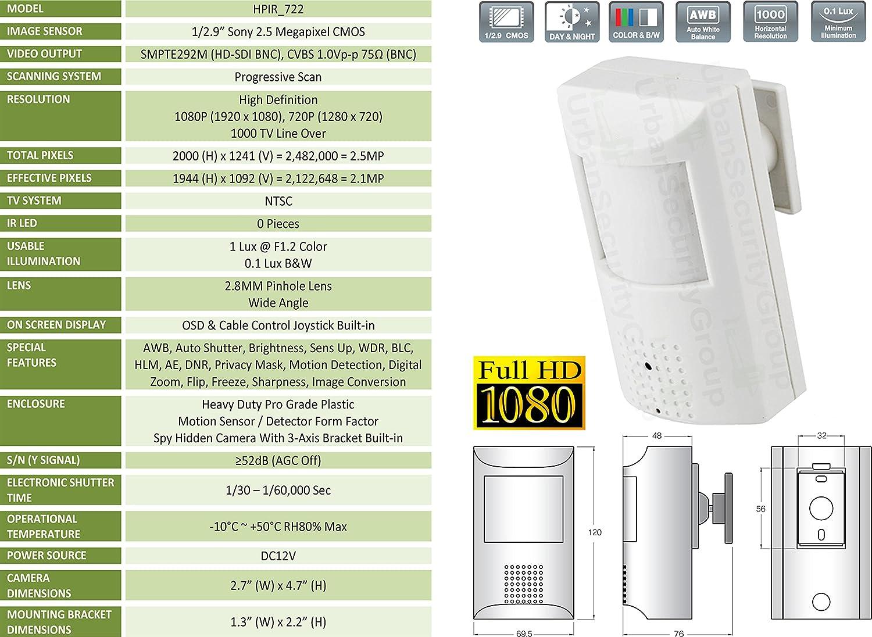 Amazon.com : USG 1080P HD-SDI Wide Angle Hidden Spy Security Camera In PIR Motion Sensor Detector Body Sony 2.5MP Sensor 1080P 720P 1000TVL : Camera & Photo