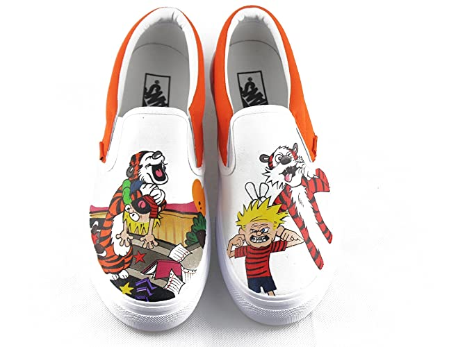 469fb6b16c16 Amazon.com  Custom Vans Slip On Shoes Design Custom Anime Calvin and Hobbes  Unisex Canvas Sneakers Men Women Sneakers Free Shipping  Handmade