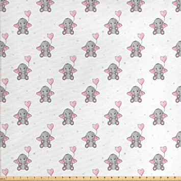 204b5e02e Ambesonne Elephant Nursery Fabric by The Yard, Elephants Holding Heart  Shaped Pink Balloons Girlish Design