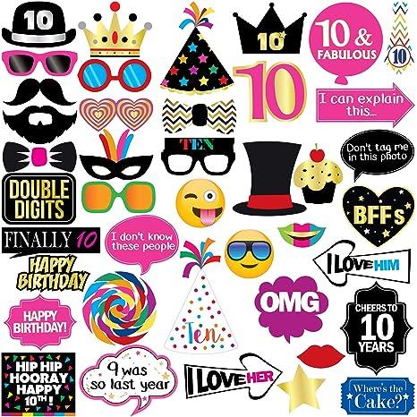 Amazon.com: Accesorios para fiesta de 10 cumpleaños, 40 ...