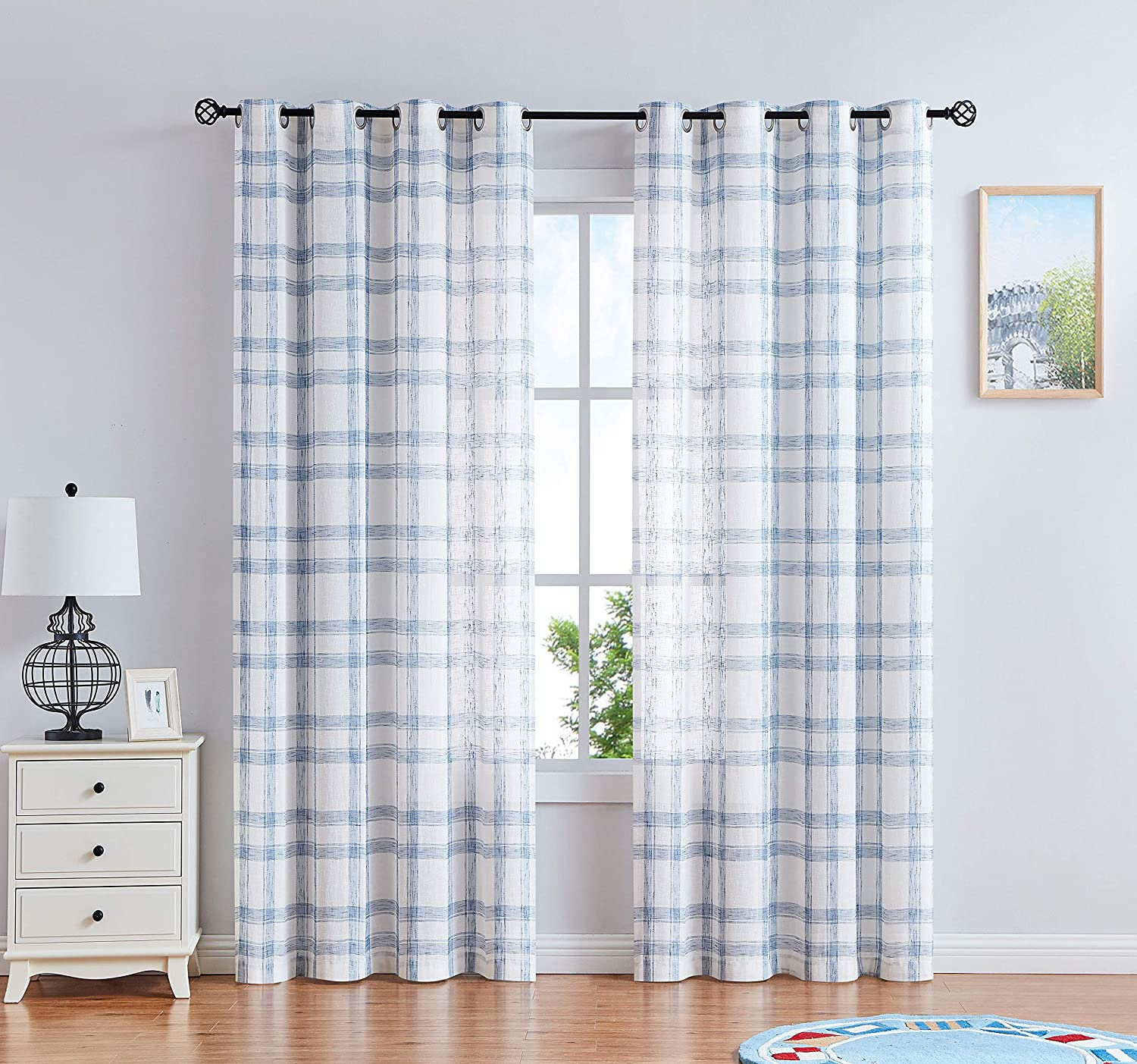 Linen Window Curtain Panel Pairs For Living Room 95 Long Geometric Check Grommets Top Semi Sheer Window Treatment Heavy Rustic Farmhouse Style Drapes For Bedroom 54 X95 X2 Blue White Amazon Ca Home Kitchen