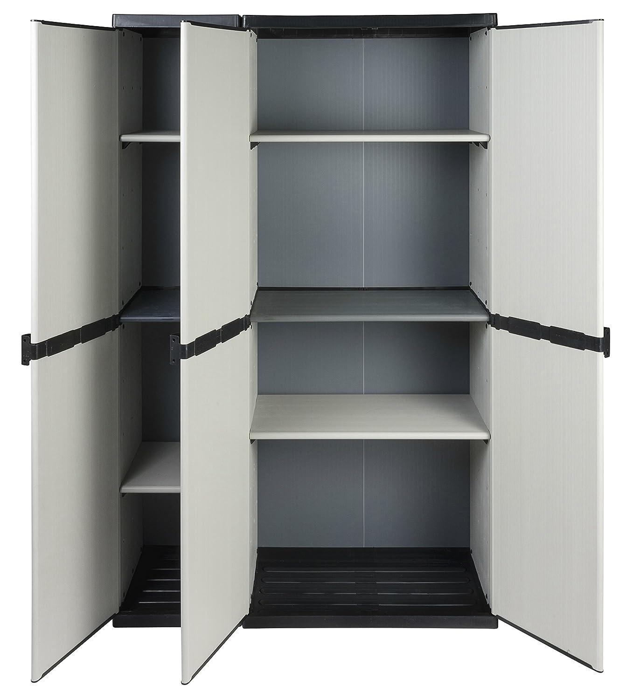 Modularer Universal Kunststoffschrank'2 in 1' mit drei Tü ren und hö henverstellbaren Bö den. Robuste Ausfü hrung, in Grau. Maß e BxTxH : 102 x 39,5 x 168 cm. Kreher