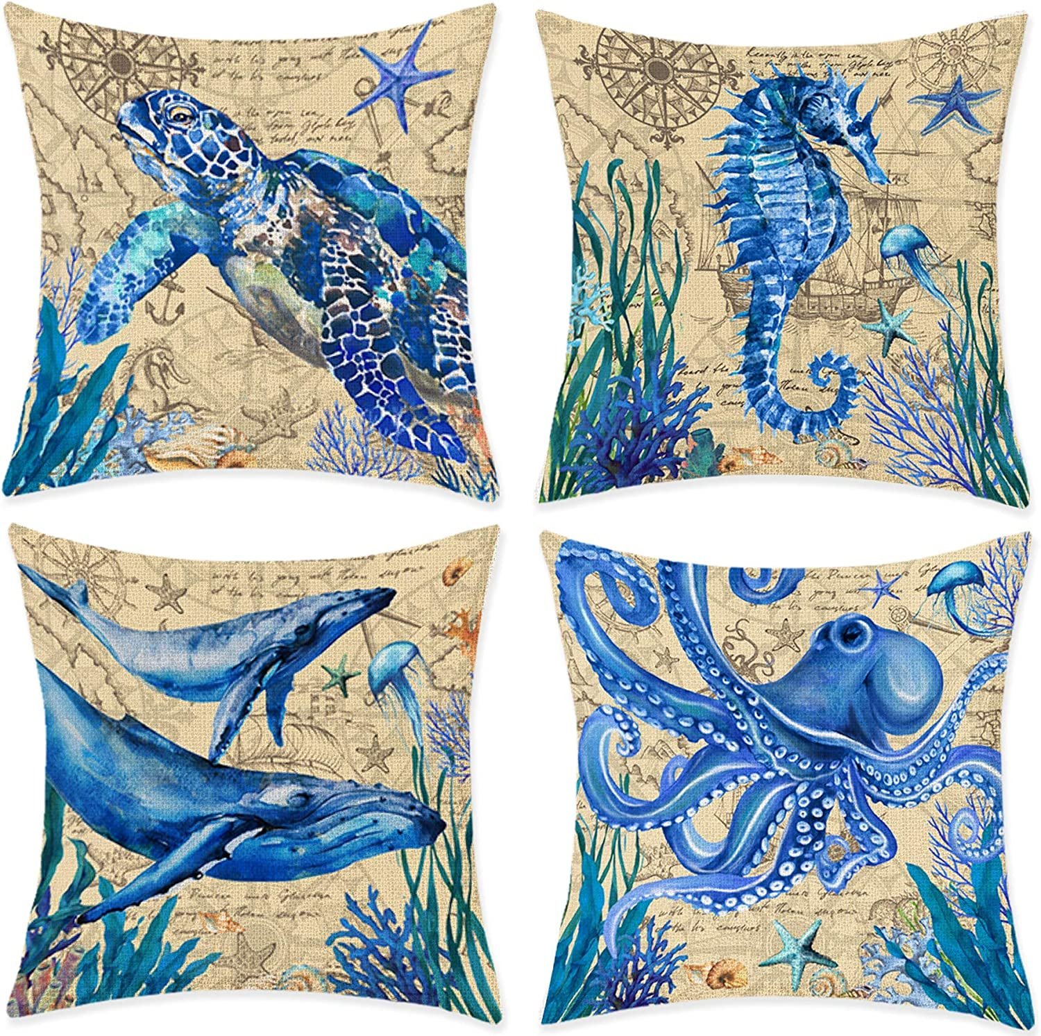 Amazon Com Bonsai Tree Beach Pillow Covers Nautical Ocean Couch Throw Pillow Covers 18 X18 Coastal Sea Turtle Seahorse Whales Octopus Cotton Linen Pillow Cases Summer Home Decorations For Sofa Set Of 4 Home