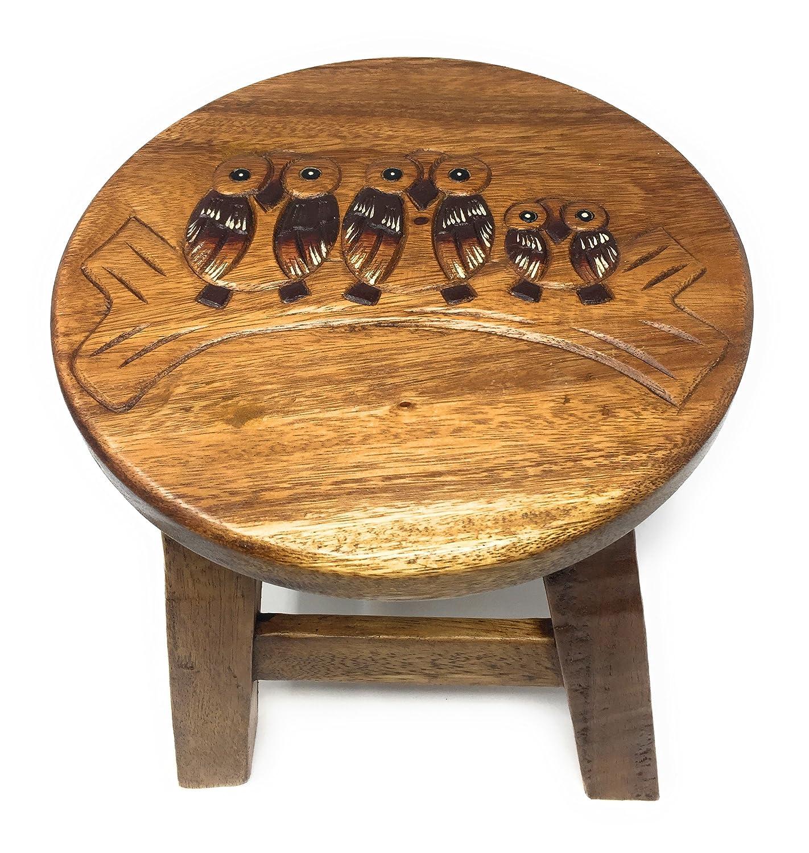 Agas Own Kinderhocker Holz Schemel Kinderstuhl Massivholz Bemalt und beschnitzt Höhe 25 cm (Affe)