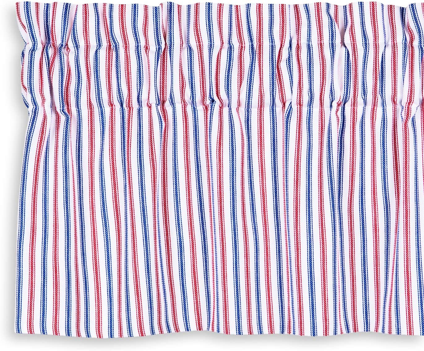 Cackleberry Home Red White and Blue Patriotic Ticking Stripe Valance Curtain Woven Cotton Lined 54 Inches W x 17 Inches L