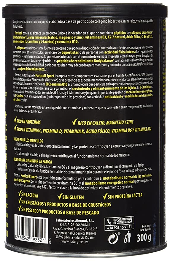 NATURGREEN - COLAGENO BIOACTIVO SPORT 270g NATURGREEN: Amazon.es: Salud y cuidado personal