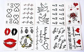 Wolga creativos Tattoo Juego 10 arco como Principal de corazón ...