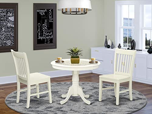 East West Furniture Room Set-2 Wonderful Dining Chairs-A Lovely Round Wooden Seat and Linen White Wood Kitchen Table