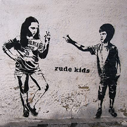 122432b8eb7 Banksy Rude Kids – Large Wall Metal Art Print – Street Art Graffiti –  Famous Graffiti Art Printed on Metal – Wall Home