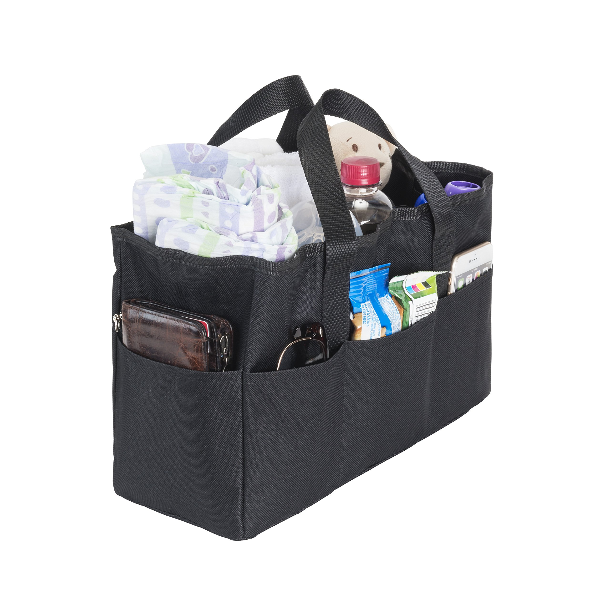 Diaper Bag Insert Organizer for Mom with 5 Outside & 6 Inside Storage Pockets - Transform Any Mom's Purse, Handbag, Backpack, Or Tote Bag by Mommy Knows Best (Image #1)