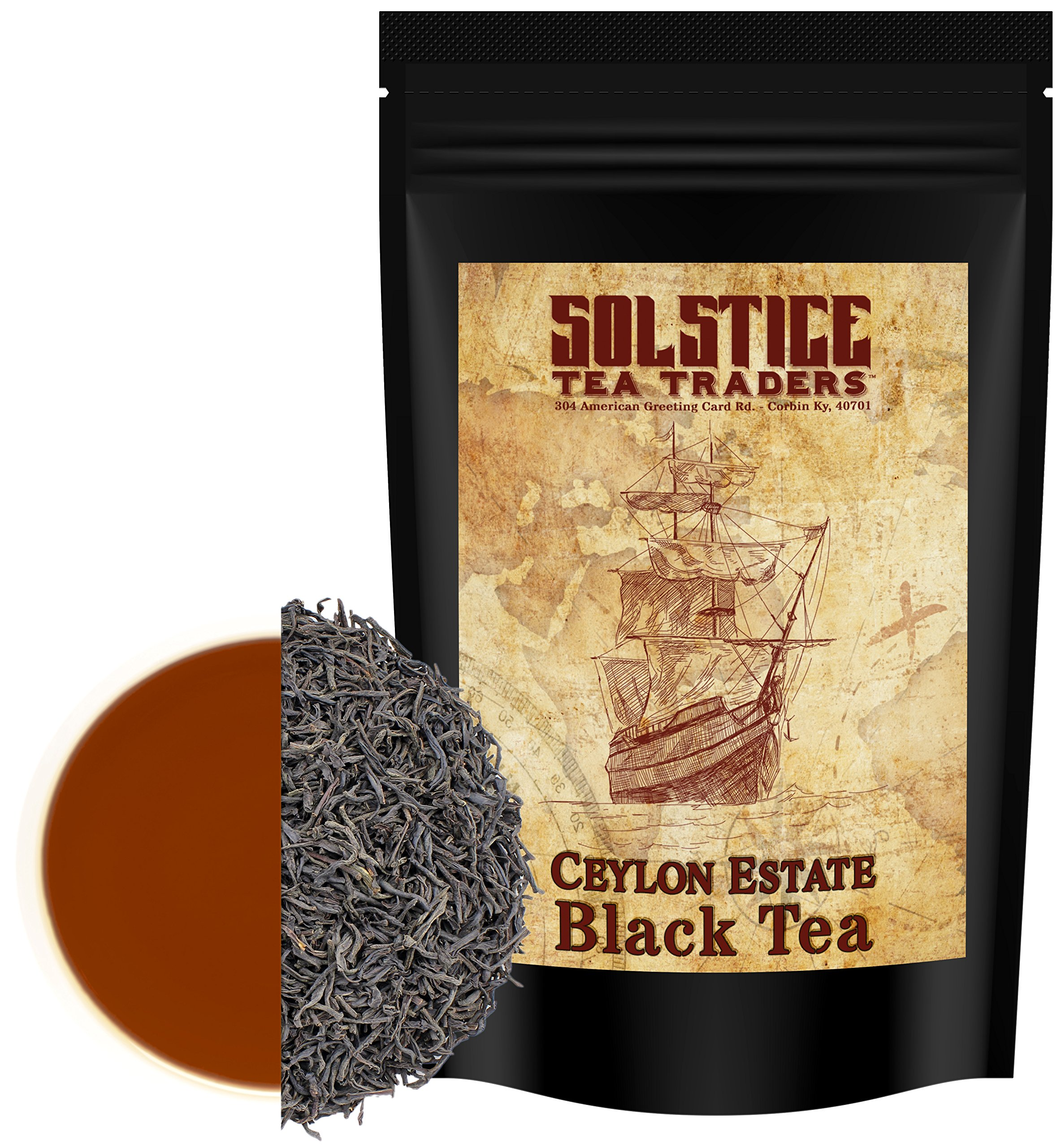 Ceylon Estate Blend BOP Loose Leaf Black Tea (8-Ounce Bulk Bag); 100% Sri Lanka Origin Tea, Makes 100+ Cups of Tea by Solstice Tea Traders