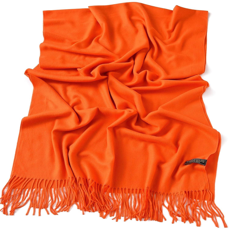 CJ Apparel Orange Thick Solid Colour Design Cotton Blend Shawl Seconds Scarf NEW